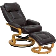 Flash Furniture Contemporary Leather Recliner and Ottoman with Swiveling Maple Wood Base, Brown