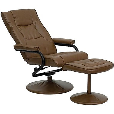Flash Furniture Contemporary Leather Recliner and Ottoman with Leather Wrapped Base, Palimino