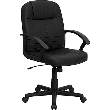Flash Furniture Mid-Back Leather Exec Chair, Fixed Arms, Black