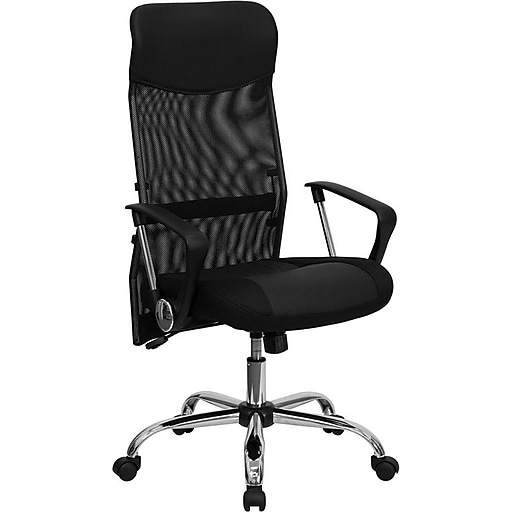 Remarkable Flash Furniture Split Leather Executive Chair With Mesh Back Black Ocoug Best Dining Table And Chair Ideas Images Ocougorg