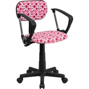 Flash Furniture Low-Back Fabric Computer Chair, Fixed Arms, Pink