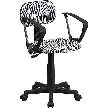 Flash Furniture – Fauteuil de bureau en tissu avec imprimé zébré et dossier bas, accoudoirs fixes, noir et blanc