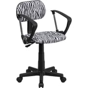 Flash Furniture Low-Back Zebra-Print Fabric Task Chair, Fixed Arms, Black-and-White