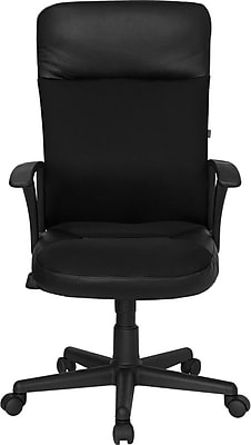 Flash Furniture Leather Executive Office Chair, Adjustable Arms, Black (CPA142A01)