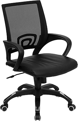 Flash Furniture LeatherSoft Leather Computer and Desk Office Chair, Fixed Arms, Black (CPB176A01BK)