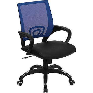 Flash Furniture CPB176A01BL Leather Soft Mid-Back Task Chair with Fixed Arms, Blue/Black