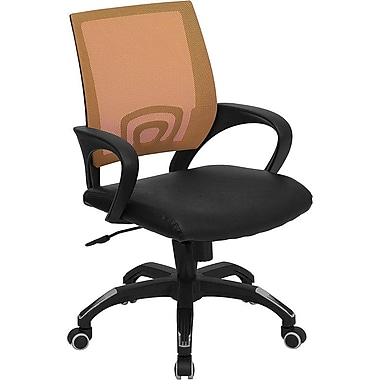 Flash Furniture CPB176A01ORG Leather Soft Mid-Back Task Chair with Fixed Arms, Orange/Black