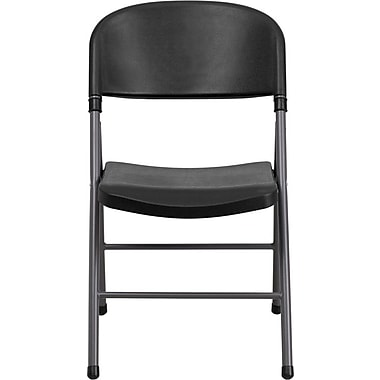 Flash Furniture Hercules Series 330 lb. Capacity Plastic Folding Chair with Charcoal Frame, Black