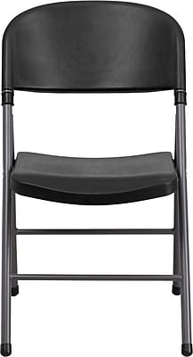 Flash Furniture HERCULES Series 330 lb. Capacity Plastic Folding Chair with Charcoal Frame, White, 72/Pack