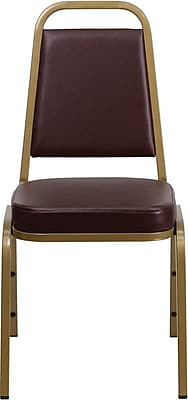 Flash Furniture HERCULES Series Trapezoidal Back Stacking Banquet Chair with Brown Vinyl and Gold Frame Finish, 4/Pack 200929