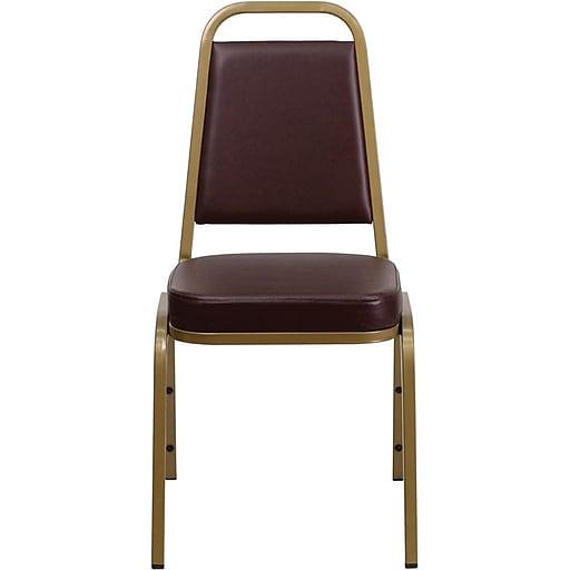 Flash Furniture HERCULES™ Vinyl Gold Frame Trapezoidal Back Banquet Chair, Brown, 4/Pack