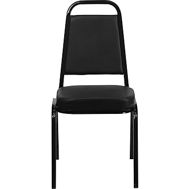 Flash Furniture Hercules Series Trapezoid Back Banquet Stack Chair with Black Vinyl and Black Frame Finish, 4/Pack