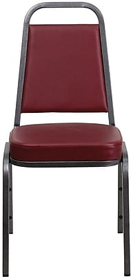 Flash Furniture HERCULES Series Trapezoid Back Banquet Stack Chair with Burgundy Vinyl and Silver Vein Frame Finish, 20/Pack 200936
