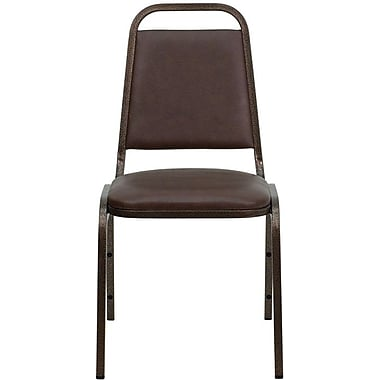 Flash Furniture Hercules Series Trapezoidal Back Stacking Banquet Chair with Brown Vinyl and Copper Vein Frame Finish