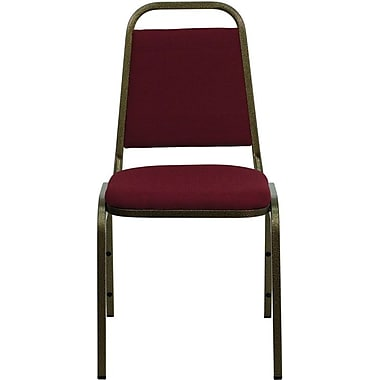Flash Furniture Hercules Series Trapezoidal Back Stacking Banquet Chair with Burgundy Fabric and Gold Vein Frame Finish, 4/Pack