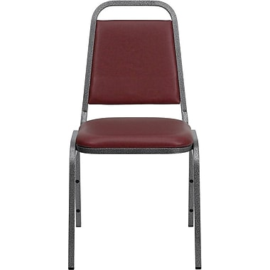 Flash Furniture HERCULES Series Trapezoid Back Banquet Chair Stack with Burgundy Vinyl and Silver Vein Frame Finish, 40/Pack