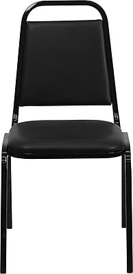 Flash Furniture HERCULES Series Trapezoidal Back Stacking Banquet Chair with Black Vinyl and Black Frame Finish, 10/Pack 200941