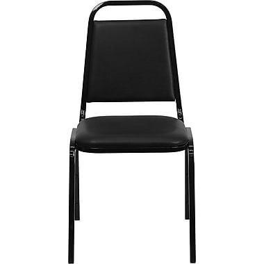Flash Furniture HERCULES Series Trapezoidal Back Stacking Banquet Chair with Black Vinyl and Black Frame Finish, 10/Pack