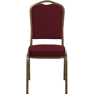 Flash Furniture Hercules Series Crown Back Stacking Banquet Chair with Burgundy Fabric and Gold Frame Finish, 10/Pack