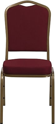 Flash Furniture HERCULES™ Fabric Gold Frame Crown Back Banquet Chair, Burgundy, 20/Pack