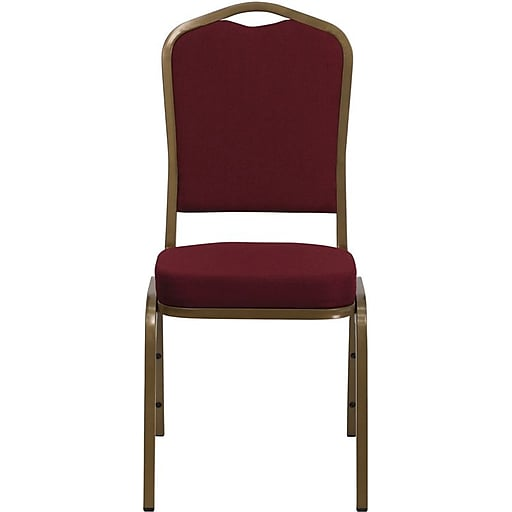 Flash Furniture HERCULES™ Fabric Gold Frame Crown Back Banquet Chair, Burgundy, 10/Pack