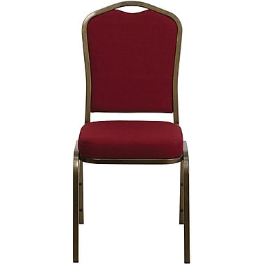 Flash Furniture Hercules Series Crown Back Stacking Banquet Chair with Burgundy Fabric and Gold Vein Frame Finish, 4/Pack