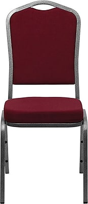 Flash Furniture HERCULES Series Crown Back Stacking Banquet Chair with Burgundy Fabric and Silver Vein Frame Finish, 10/Pack