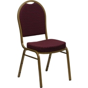 Flash Furniture Hercules Series Dome Back Stacking Banquet Chairs with Burgundy Patterned Fabric and Gold Frame Finish