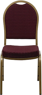 Flash Furniture HERCULES Series Dome Back Stacking Banquet Chair with Burgundy Patterned Fabric and Gold Frame Finish, 10/Pack