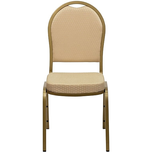 Flash Furniture HERCULES Series Dome Back Stacking Banquet Chair with Beige Pattern Fabric and Gold Frame Finish, 40/Pack