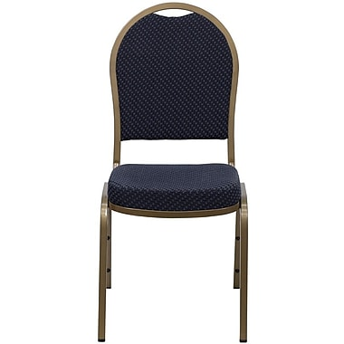 Flash Furniture Hercules Series Dome Back Stacking Banquet Chair with Navy Patterned Fabric and Gold Frame Finish