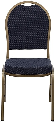Flash Furniture HERCULES Series Dome Back Stacking Banquet Chair with Navy Patterned Fabric and Gold Frame Finish, 20/Pack