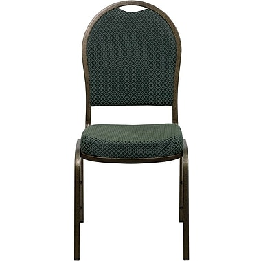 Flash Furniture Hercules Series Dome Back Stacking Banquet Chair with Green Patterned Fabric and Gold Vein Frame Finish