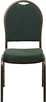 Flash Furniture HERCULES Series Dome Back Stacking Banquet Chair with Green Patterned Fabric and Gold Vein Frame Finish, 40/Pack