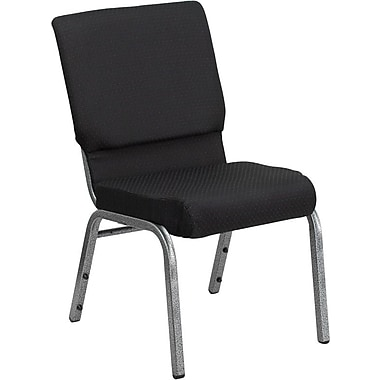 Flash Furniture Hercules Series 18.5'' Wide Stacking Church Chair with 4.25'' Thick Seat - Silver Vein Frame, Black Patterned