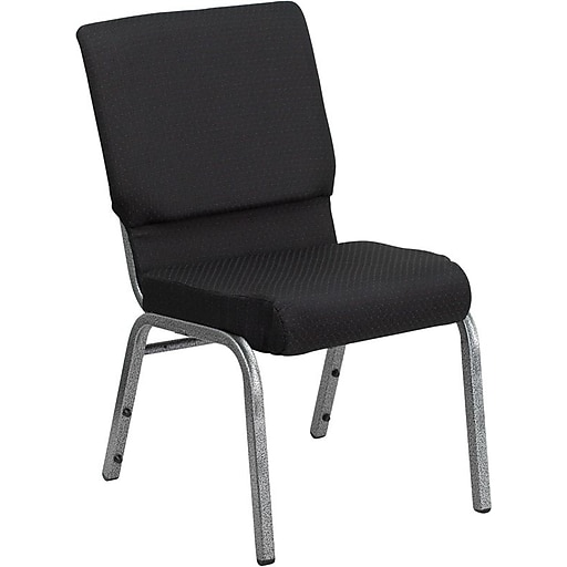 Flash Furniture HERCULES Series 18.5''W Church Stack Chair with 4.25'' Thick Seat - Silver Vein Frame, Black Pattern, 20/Pack