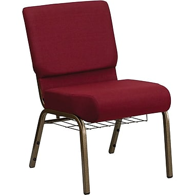 Flash Furniture Hercules Series 21''W Church Chair with 4'' Thick Seat, Communion Cup Rack - Gold Vein Frame, Burgundy, 40/Pack