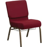 Flash Furniture HERCULES Series 21''W Church Chair with 4'' Thick Seat, Communion Cup Rack - Gold Vein Frame, Burgundy