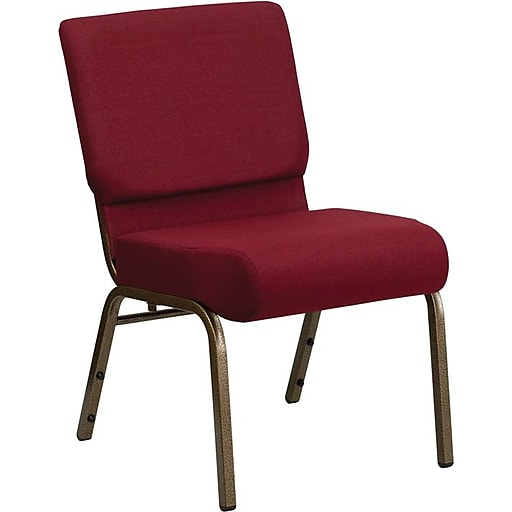 """Flash Furniture HERCULES™ Fabric Stacking Church Chair With 4""""T Seat, Burgundy, 20/Pack"""
