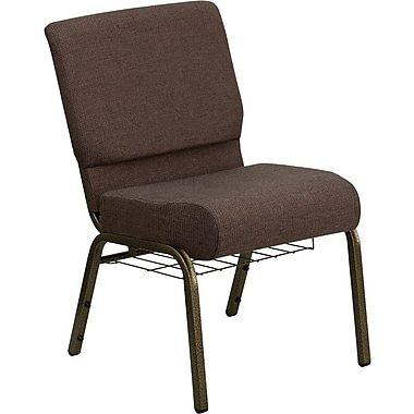 Flash Furniture HERCULES Series 21''W Church Chair with 4'' Thick Seat, Communion Cup Rack - Gold Vein Frame, Brown, 40/Pack