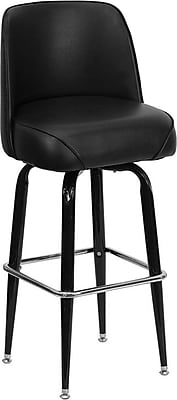 Flash Furniture Metal Bar Stool With Swivel Bucket Seat, Black 201007