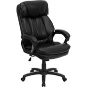Flash Furniture Leather Executive Office Chair, Non-Adjustable Arms, Black (GO1097BKLEA)