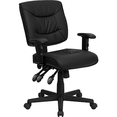 Flash Furniture GO-1574-BK-A-GG Leather Soft Mid-Back Task Chair with Adjustable Arms, Black