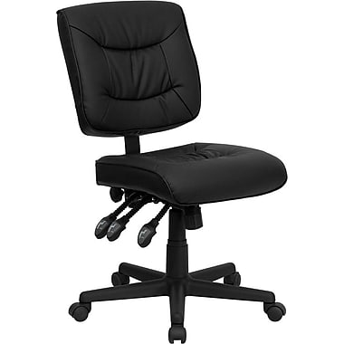 Flash Furniture GO-1574-BK-GG Leather Soft Mid-Back Armless Task Chair, Black