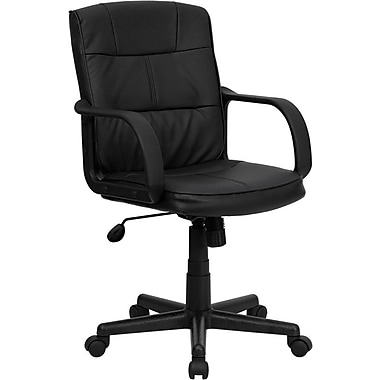 Flash Furniture Black Mid-Back Leather Soft Task Chair, Fixed Arms