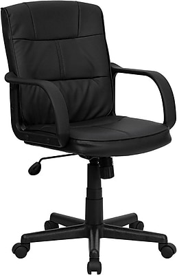 Flash Furniture LeatherSoft Leather Computer and Desk Office Chair, Fixed Arms, Black (GO228SBKLEA)