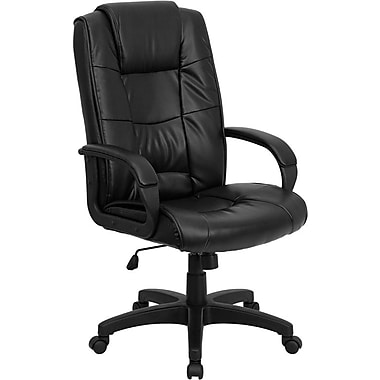 Flash Furniture – Fauteuil de direction en cuir à dossier haut, accoudoirs fixes, noir (GO5301BBKLEA)