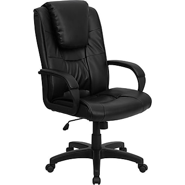 Flash Furniture High-Back Leather Soft Exec Chair, Fixed Arms, Black