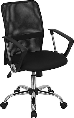 Flash Furniture Fabric Computer and Desk Office Chair, Fixed Arms, Black (GO6057)