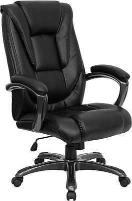 Flash Furniture LeatherSoft Leather Executive Office Chair, Fixed Arms, Black (GO7194BBK)